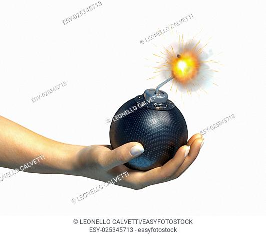 Human hand holding a bomb with burning fuse, on white background