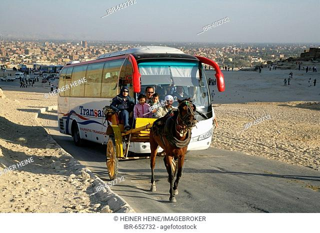Tourist bus in a parking lot near the pyramids, Giza, Egypt, North Africa, Africa