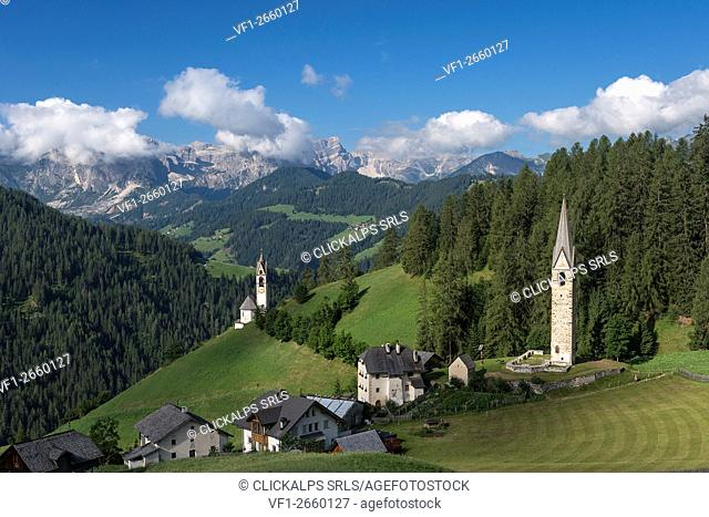 La Val/Wengen, Dolomites, South Tyrol, Italy. The Church of Santa Barbara in La Val