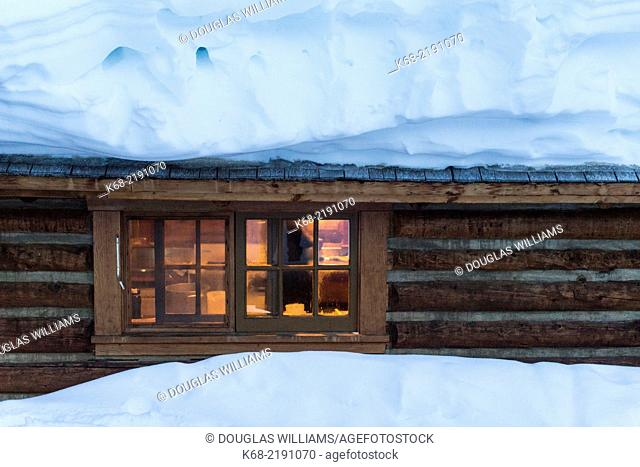 The Elizabeth Parker Hut at Lake O'Hara, Yoho National Park, British Columbia, Canada is an old historic cabin