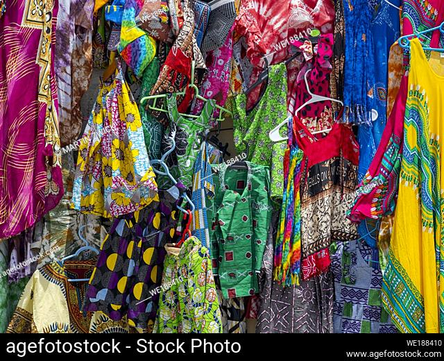 Boutique in the village Santa Maria. The island Sal, Cape Verde, an archipelago in the equatorial atlantic in Africa