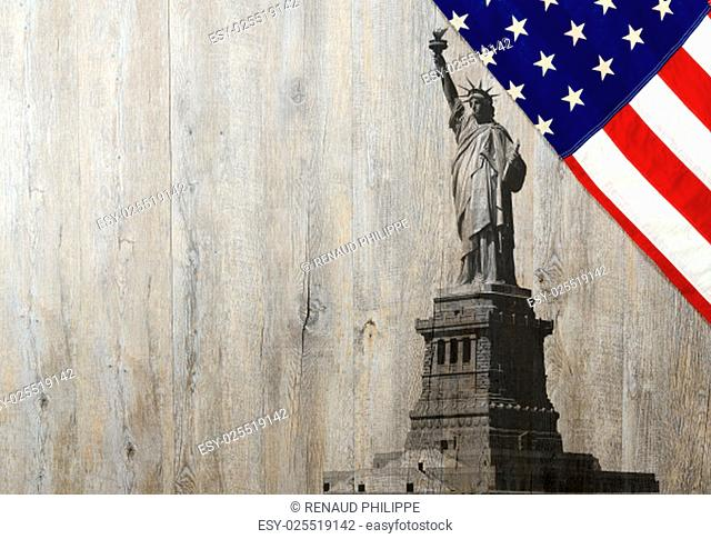 Flag of the United States of America with Statue of Liberty on wood