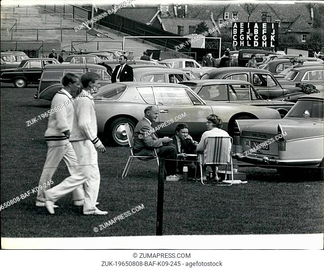 Aug. 08, 1965 - Cars on the Soccer Pich.: This unusual sight- of cars on the football pitch, is at Northampton, where Northampton cricket club are playing their...