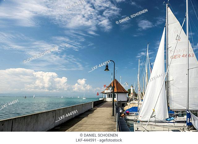 Lindau harbour, Lindau, Lake Constance, Bavaria, Germany