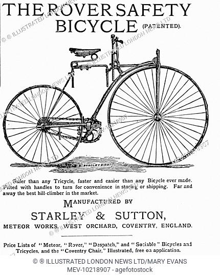 Advertisment for the Rover Safety Bicycle, built by Starley and Sutton of the Meteor Works, Coventry
