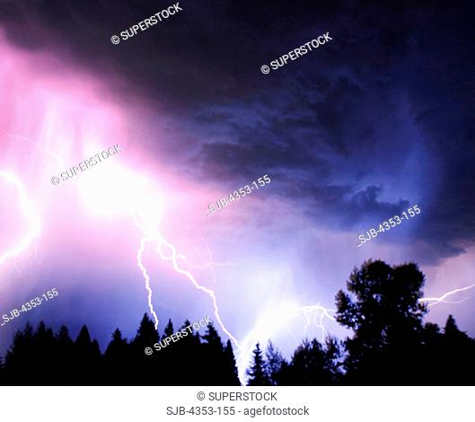 Lightning Bolt with Clouds & Foliage