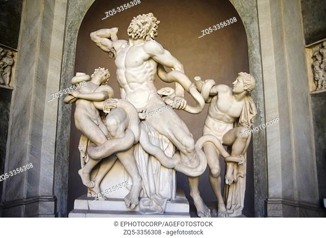 Statue depicting struggle, the coils of the python are being uncoiled, Sistine Chapel, Vatican Museum, Rome, Italy