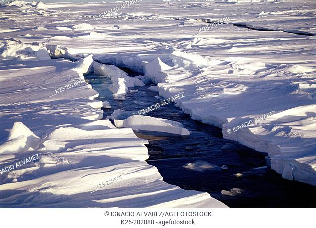 Cracks on ice caused by an icebreaker. Weddell Sea. Antarctica