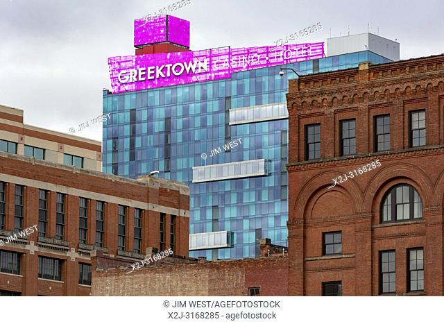 Detroit, Michigan - The Greektown Casino hotel, surrounded by older buildings in downtown Detroit