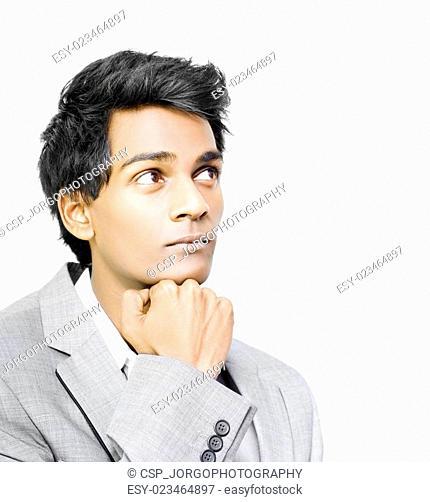 Asian businessman in deep contemplation