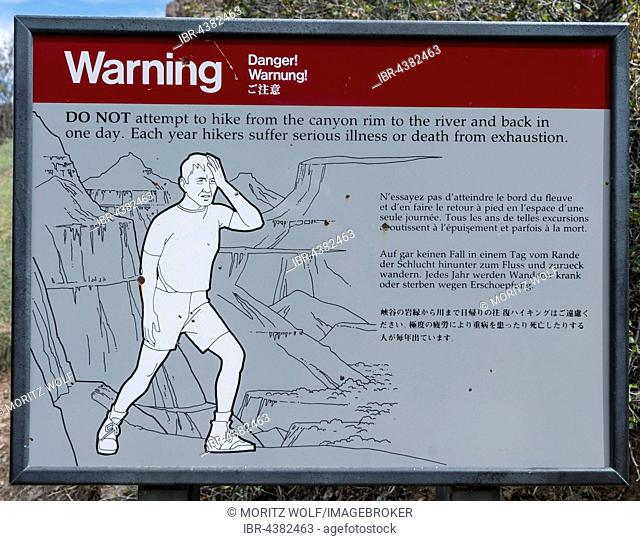 Warning Sign for hikers, warning exhaustion and heat, Grand Canyon National Park, Arizona, USA