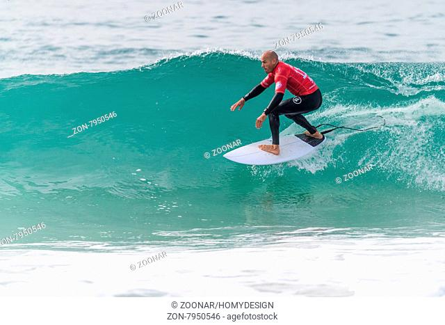 PENICHE, PORTUGAL - OCTOBER 23, 2015: Kelly Slater (USA) during the Moche Rip Curl Pro Portugal, Men's Samsung Galaxy Championship Tour #10