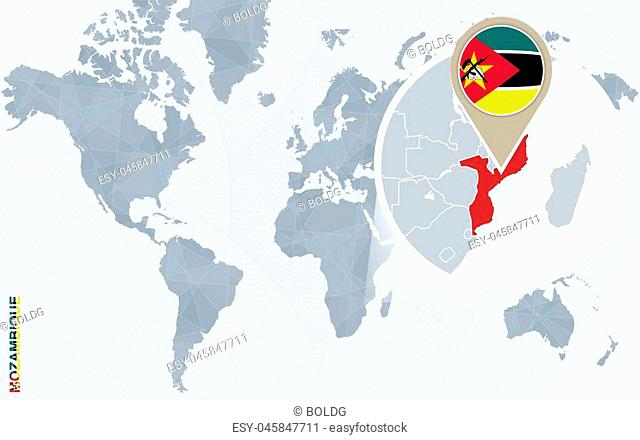 Abstract blue world map with magnified Mozambique. Mozambique flag and map. Vector Illustration