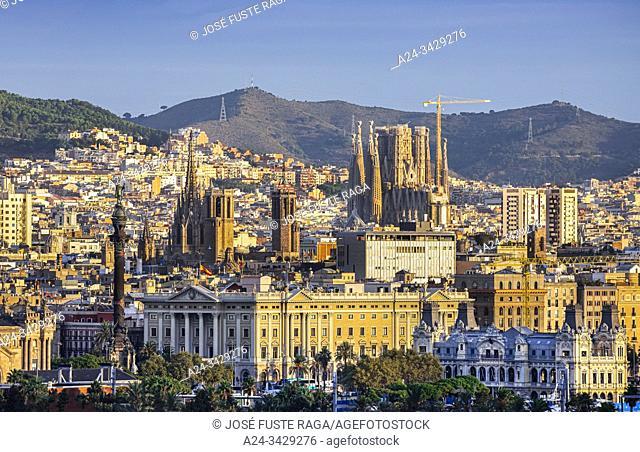 Spain, Catalonia, Barcelona City, Skyline, sunrise
