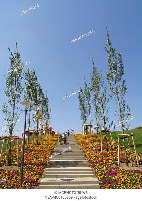 stairs with flowerbeds and rows of poplars on the Federal Garden Exhibition 2007 Gera and Ronneburg