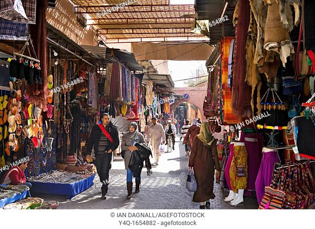 Shops on Rue Riad Zitoun el Kedim off Djema El Fna, Medina, Marrakech, Morocco, North Africa