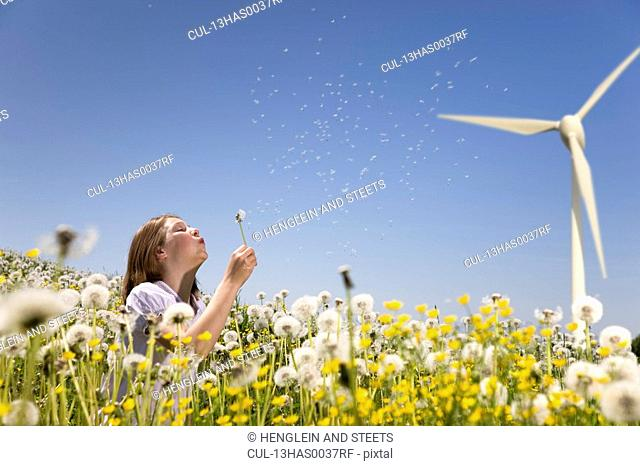 Girl blowing dandelion at wind turbine