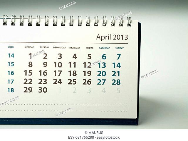 April. Calendar sheet. 2013 year calendar