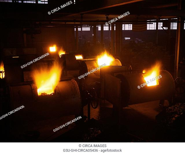 Rotary, Oil-Fired Melting Furnaces, Destination of the Finished Aluminum Products is Kept Secret, Aluminum Industries, Inc., Ohio, USA, Alfred T