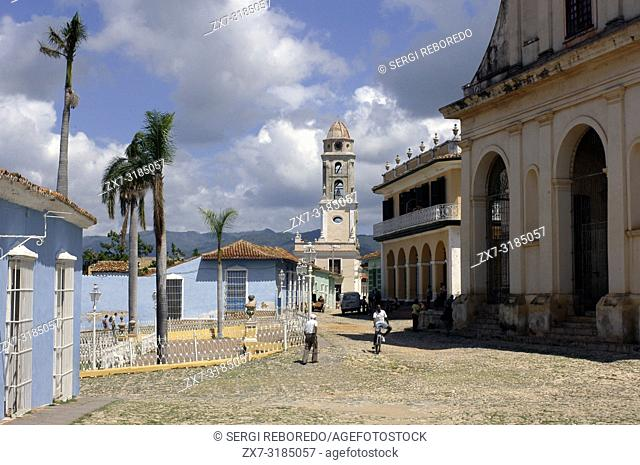 The church of the Holy Trinity and Bell Tower of the Convent of San Francisco bathed in evening light, Plaza Mayor, Trinidad, UNESCO World Heritage Site, Cuba
