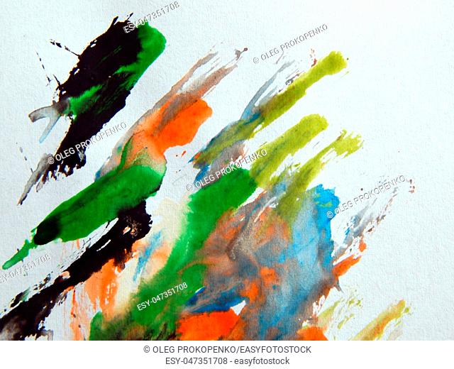 Watercolor illustrations drawn paints on white paper background