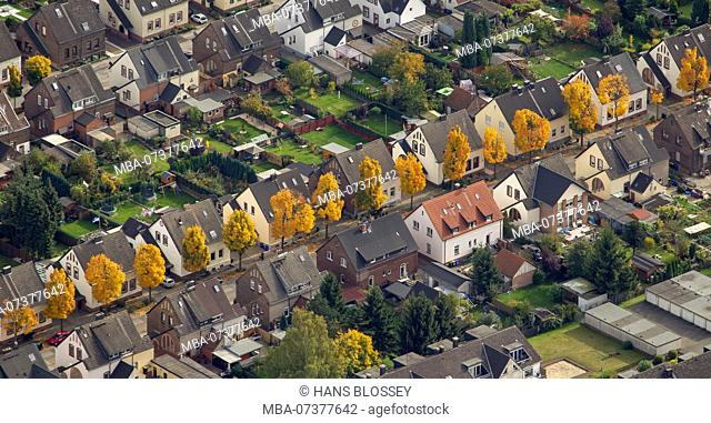 Aerial view, Emscherstraße city limits Gladbeck and Gelsenkirchen Horst, autumn, autumn leaves, Golden October, Indian Summer, Gladbeck, Ruhr area