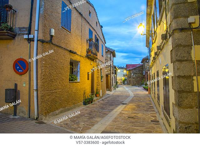 Main Street at nightfall. Puebla de la Sierra, Madrid province, Spain