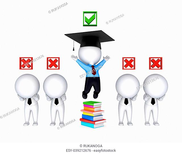 Success concept.Isolated on white background.3d rendered illustration