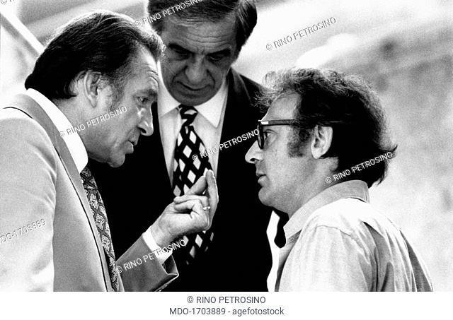 Ugo Tognazzi talks to Alberto Bevilacqua. The actor Ugo Tognazzi talks to the director Alberto Bevilacqua on the set of the drama Lady Caliph