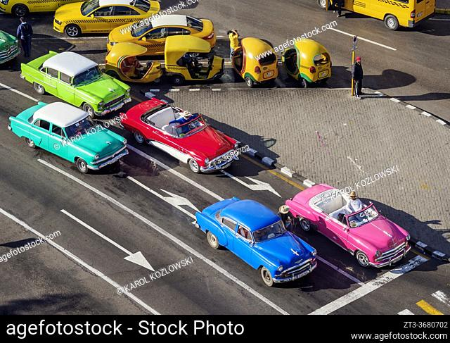 Vintage Cars at Paseo del Prado, elevated view, Havana, La Habana Province, Cuba
