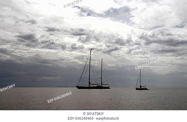 yacht at anchor in the Mediterranean sea in the evening