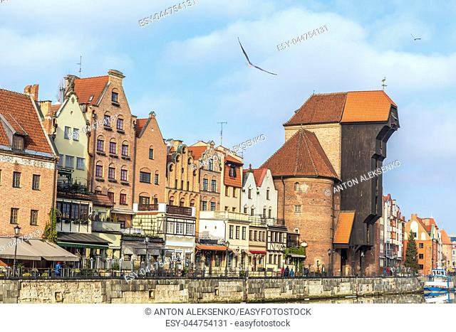 Promenade in Gdansk by the Motlawa river, view on Zuraw Port Crane