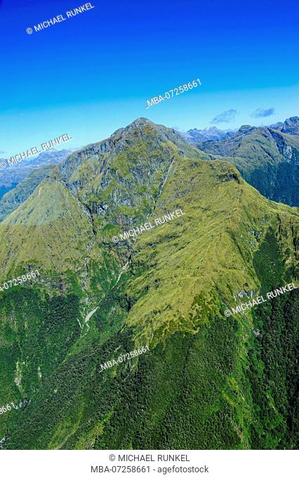 Aerial of Fjordlands, South Island, New Zealand