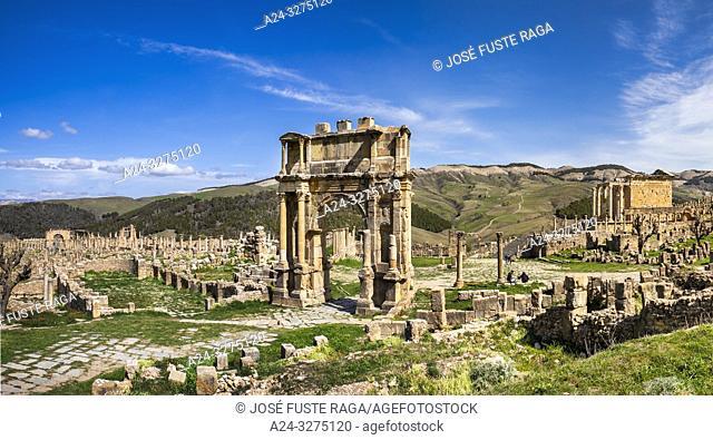 Algeria, Djemila City, Roman ruins of Djemila City, UNESCO, W. H. , Caracalla Arch, Septimus Severus Temple, Panorama