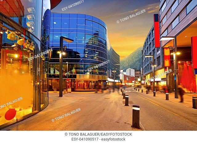 Andorra la Vella commercial area sunset street in Pyrenees