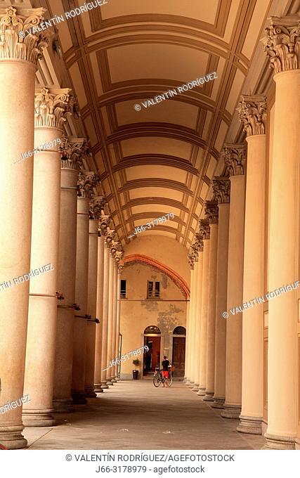 Passage of the Duomo in the Piazza de lla Repubblica of Novara. Italy