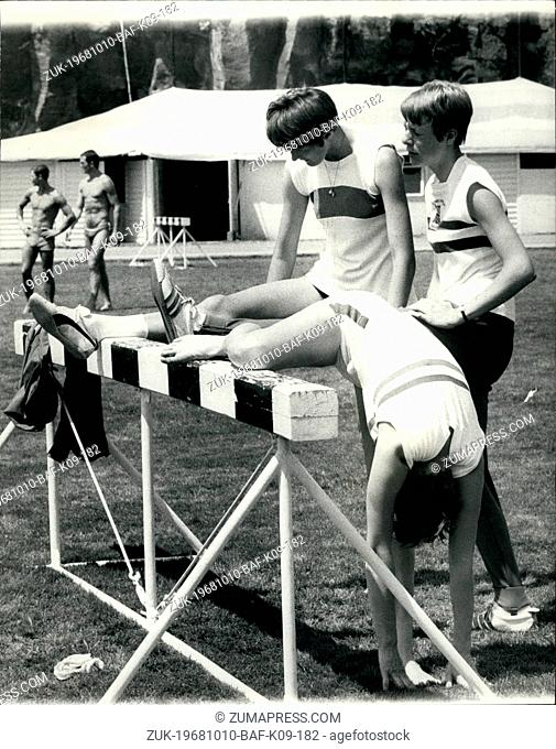 Oct. 10, 1968 - Pre-Olympic Scenes In Mexico 16-Year-Old Gets For Her First Olympic: Photo Shows L-R: Limbering up on the track are Barbara Inkpen (High Jump)...