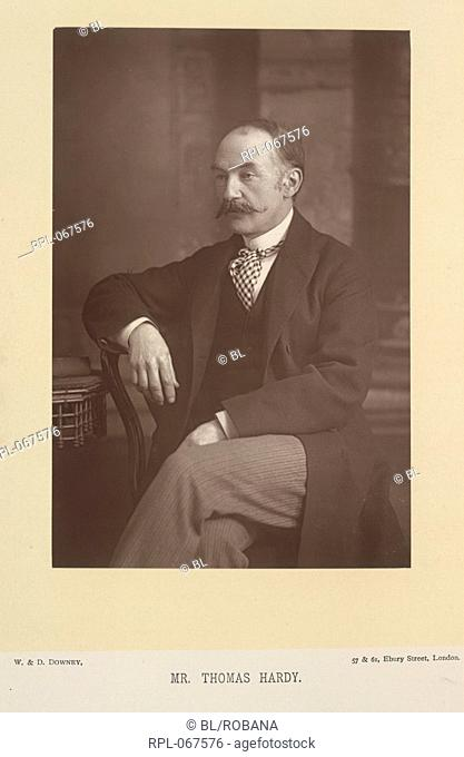 Mr Thomas Hardy 1840-1928. English novelist, poet and dramatiSt Portrait. Image taken from The Cabinet Portrait Gallery. Photographs by W. & D. Downey