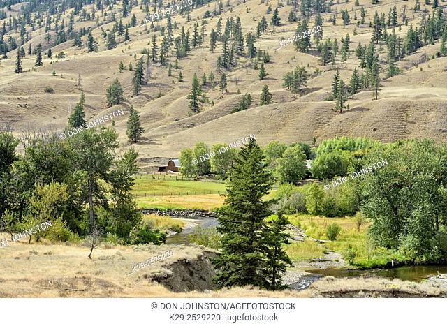 Thompson River Valley with farm in the bottomland, , British Columbia, Canada