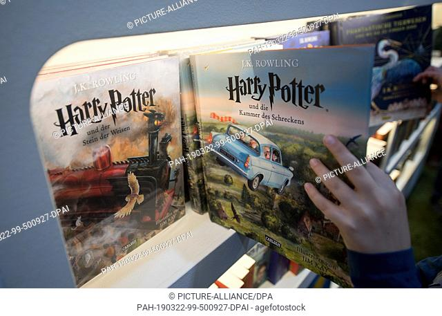 22 March 2019, Saxony, Leipzig: Books from the fantasy novel series Harry Potter will be exhibited at the Carlsen stand at the Leipzig Book Fair
