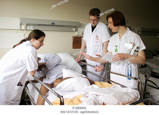 HOSPITAL TEAM<BR>Photo essay from hospital.<BR>Geriatrics unit at the Sébastopol hospital in Reims, France