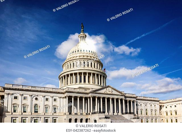 Facade of the United States Congress on Capitol Hill, Washington DC on a sunny day