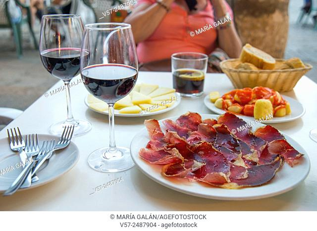 Cecina serving, cheese and bravas with glasses of red wine in a terrace. Spain