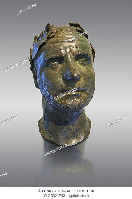 Bronze head of possibly Trebonianus Gallus, 251-253 A. D. , inv 15032, Vatican Museum Rome, Italy, grey background