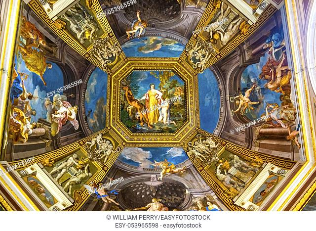 Vatican Museum Ceiling Colorful Angels Adam Frescoes Rome Italy