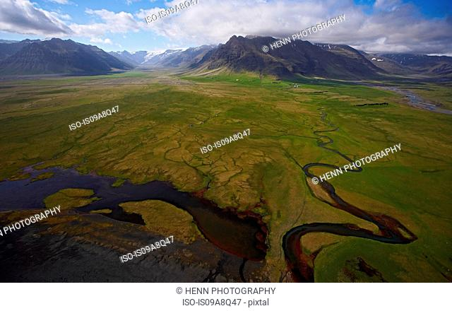 Elevated view of meandering glacial river, South Iceland
