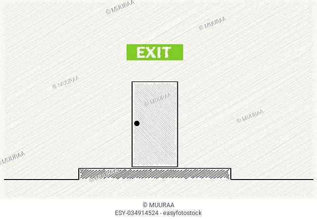 exit text and closed door, crosshatched image