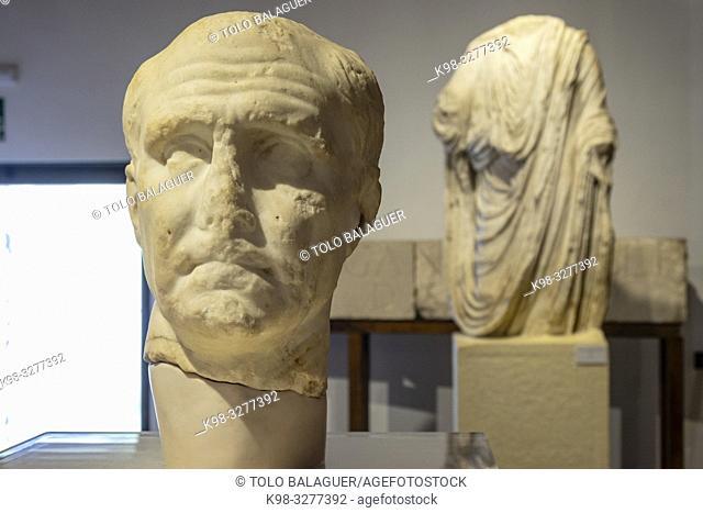 retrato de un senador romano, siglo I, Museo-Centro de Interpretación del parque arqueológico de Segóbriga, Saelices, Cuenca, Castilla-La Mancha, Spain