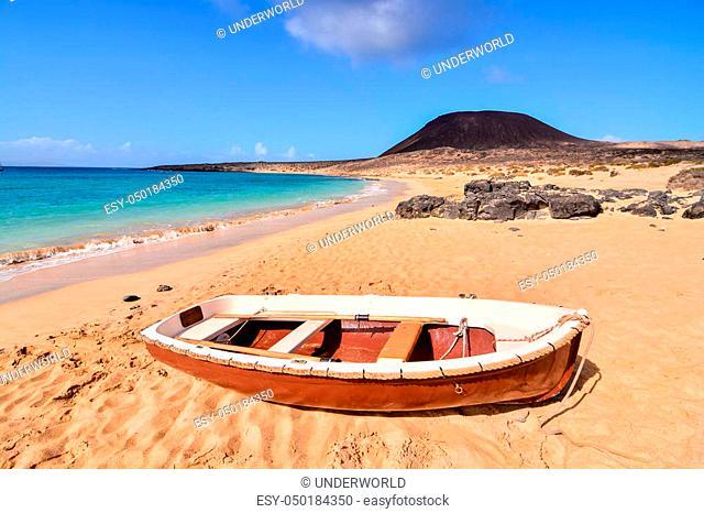 Spanish View Landscape in La Graciosa Lanzarote Tropical Volcanic Canary Islands Spain