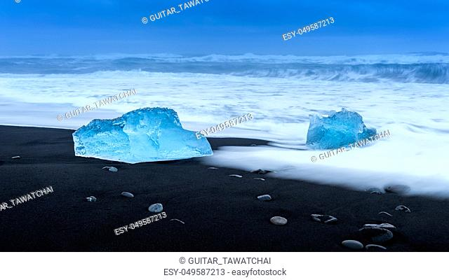 Ice on the black beach near Jokulsarlon glacier lagoon, daimond beach, Iceland
